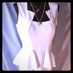NWOT White Bodycon Midi Peplum Sheath Dress Size L